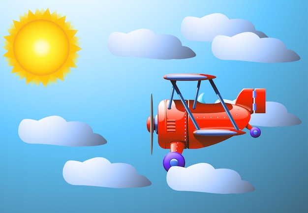 Zon wolk vliegtuig