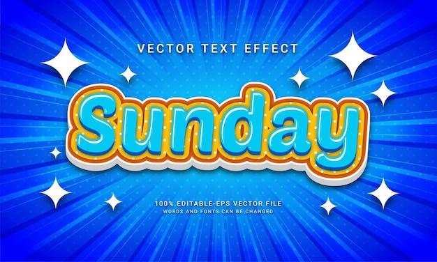 Zondag bewerkbaar teksteffect met vakantiethema