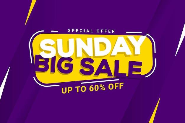 Zondag grote verkoop banner korting promotie vectorafbeelding