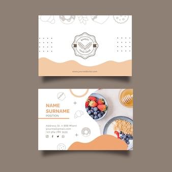Zondagsbrunch dubbelzijdig horizontaal visitekaartjesjabloon Premium Vector