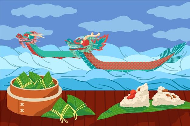Zongzi-achtergrond van plat ontwerp van drakenboot