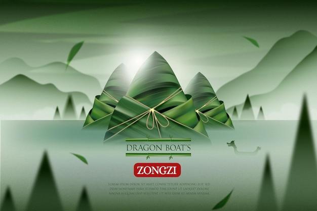 Zongzi-achtergrond van realistische drakenboot