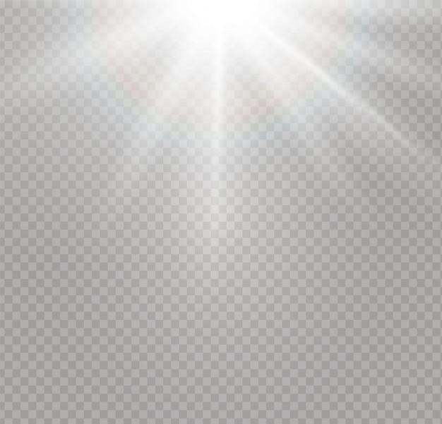 Zonlicht een doorschijnende specialiteit van het lichteffect. vervagen in het licht van uitstraling. zonlicht transparante achtergrond. element van decor. horizontale lichtstralen.