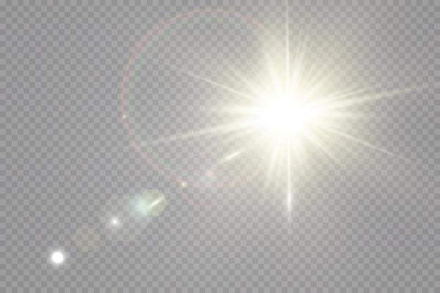 Zonlicht, glow lichteffect. schittering van de zon . star flitste pailletten.
