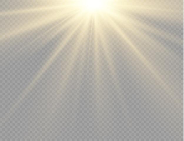 Zonlicht met heldere explosie, gloeiende lichtstralen en balken.