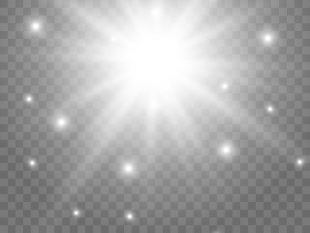 Zonlicht op een transparante achtergrond. geïsoleerde witte stralen van licht. vector illustratie