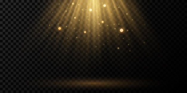 Zonlichteffect met rondvliegend stof en gloeiende deeltjes