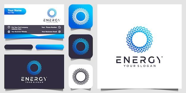 Zonne-abstracte ronde vorm logo en visitekaartje. gestippelde gestileerde zon logo illustratie.