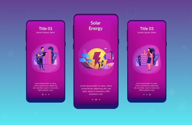 Zonne-energie app-interfacemalplaatje.