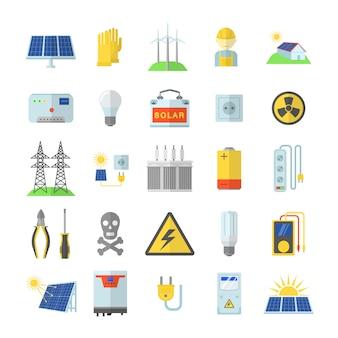 Zonne-energie apparatuur pictogrammen instellen. vlakke afbeelding van 25 zonne-energie apparatuur pictogrammen voor web