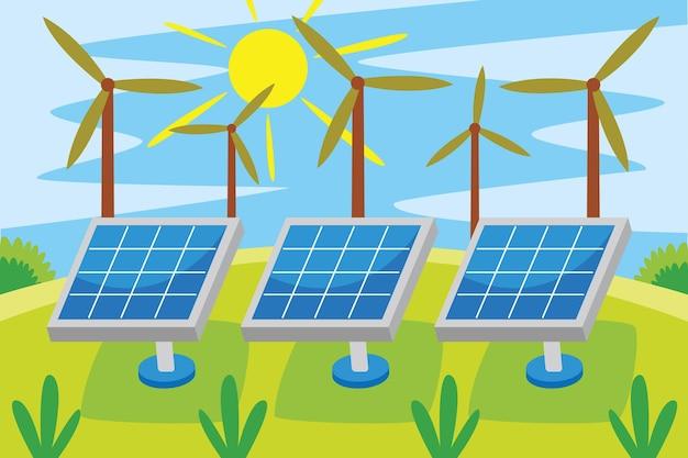 Zonne-energie-industrie in platte ontwerpstijl