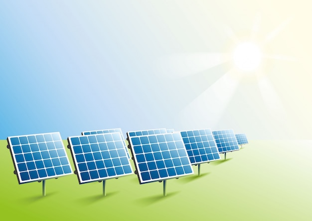 Zonne-energie. zonnepanelen in het veld