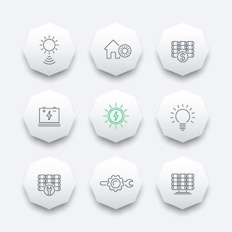 Zonne-energie, zonnepanelen, plant, lijn achthoek pictogrammen, vectorillustratie