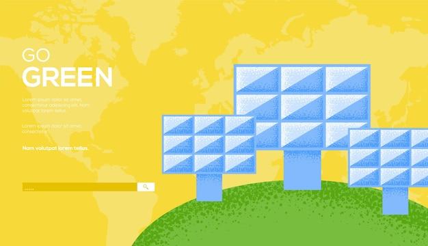Zonne-energiepaneel, ga groen, sjabloon voor spandoek