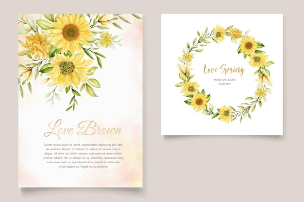 Zonnebloem bloemen uitnodigingskaartenset