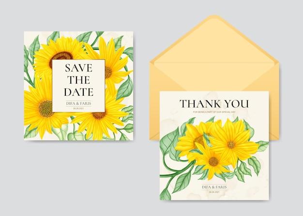 Zonnebloem bruiloft uitnodiging briefpapier sjabloon