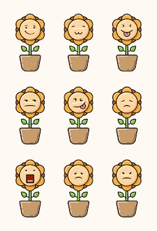 Zonnebloem emoticon set