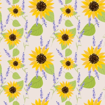 Zonnebloem en lavendel naadloze patroon.