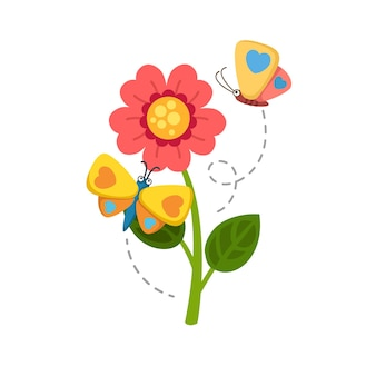 Zonnebloem en vlinder