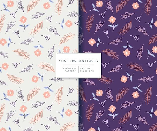 Zonnebloem en winterbladeren met mooi hand getrokken stijl naadloos patroon