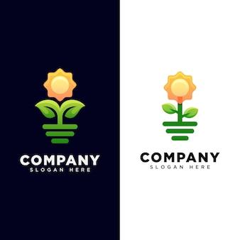 Zonnebloem logo. plant met zon-logo. lente logo ontwerpsjabloon