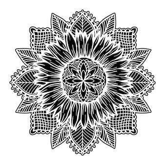 Zonnebloem mandala bloemen natuur plant illustratie concept
