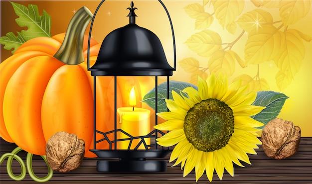 Zonnebloem met pompoen en kaarslicht