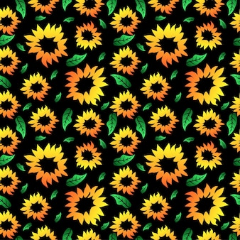 Zonnebloem naadloos patroon achtergrondontwerp