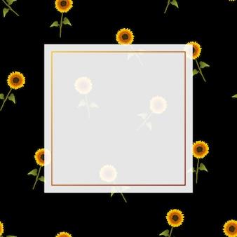 Zonnebloembanner op zwarte achtergrond