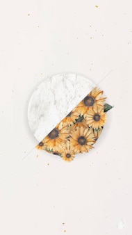 Zonnebloemboeket op beige mobiel behang