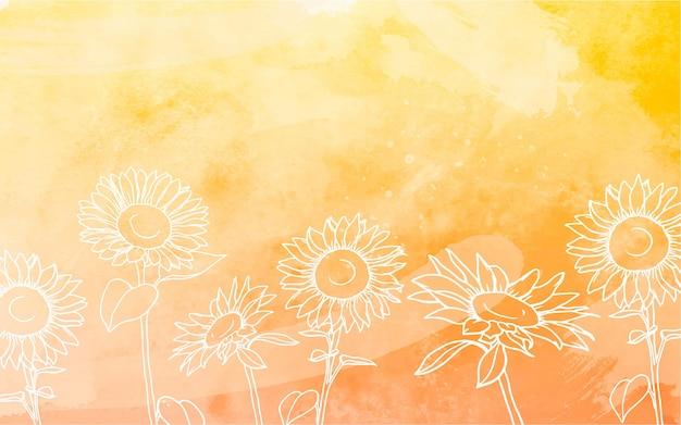 Zonnebloemen achtergrond met aquarel