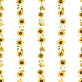 Zonnebloemen aquarel naadloze patroon hand getrokken bloemen