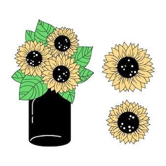 Zonnebloemen en glazen pot geïsoleerde clipart kleurrijke bloemen decoratieve elementen