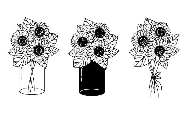 Zonnebloemen en glazen pot geïsoleerde clipart set zwart-wit bloemen bouquete zonnebloemen