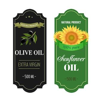 Zonnebloemen en olijfolie etiketten witte achtergrond met verloopnet