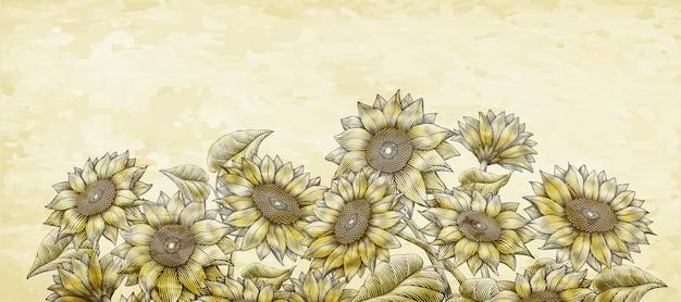 Zonnebloemen in retro houtsnede-stijl