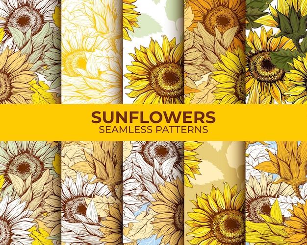 Zonnebloemen naadloze patronen set