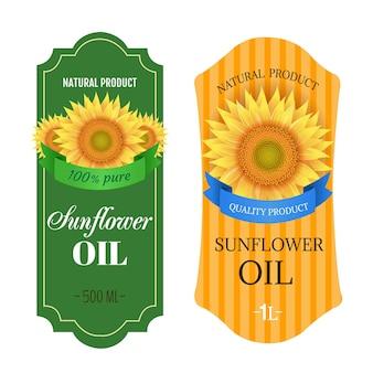 Zonnebloemen olie etiketten geïsoleerde witte achtergrond met verloopnet