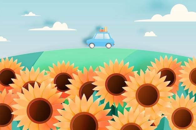Zonnebloemgebied met de auto van de wegreis en document kunststijl en de vectorillustratie van de pastelkleurregeling