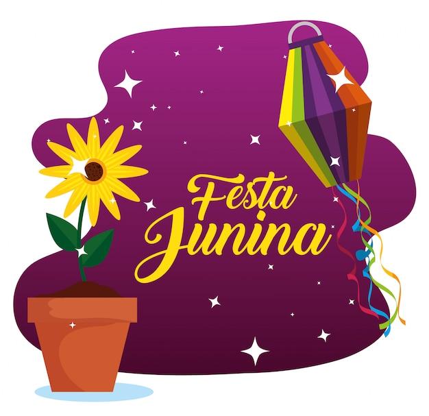 Zonnebloeminstallatie met lantaarn aan festa junina