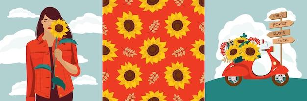 Zonnebloemkaarten set: een meisje, boeket, een bromfiets, verkeersbord, naadloos patroon.