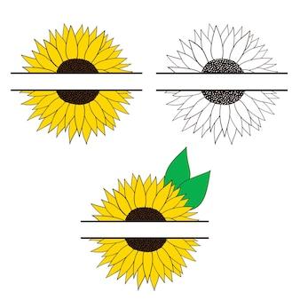 Zonnebloemkader voor uw tekst zonnebloemen instellen vectorillustratie in vlakke stijl geïsoleerde objecten