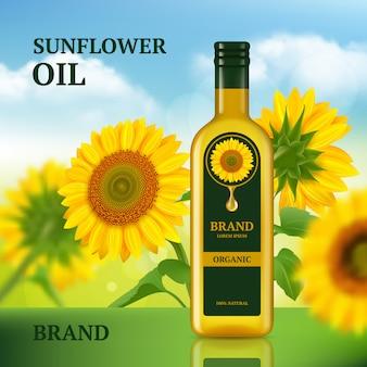 Zonnebloemolie. ontwerpsjabloon voor tijdschriftchef-kok vloeibaar product adverteren op realistische flesachtergrond
