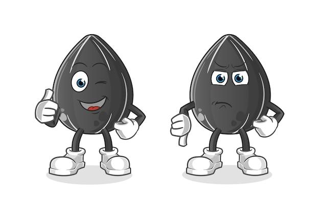 Zonnebloempitten thumbs up en thumbs down cartoon