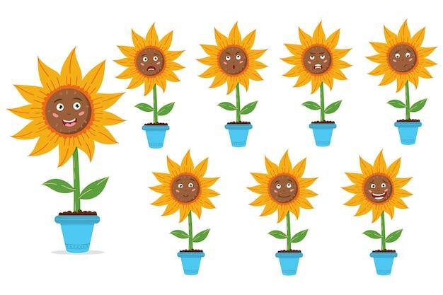Zonnebloempot instellen zonnige bloemenzaden emoties instellen