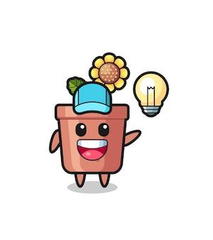 Zonnebloempot karakter cartoon krijgt het idee, schattig stijlontwerp voor t-shirt, sticker, logo-element