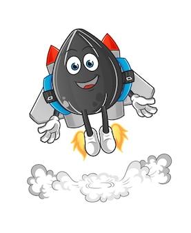 Zonnebloemzaad met jetpack-mascotte. tekenfilm