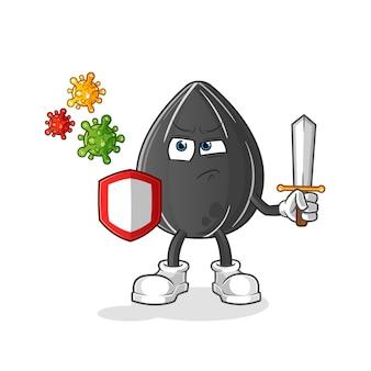 Zonnebloemzaad tegen de illustratieontwerp van het virussenbeeldverhaal