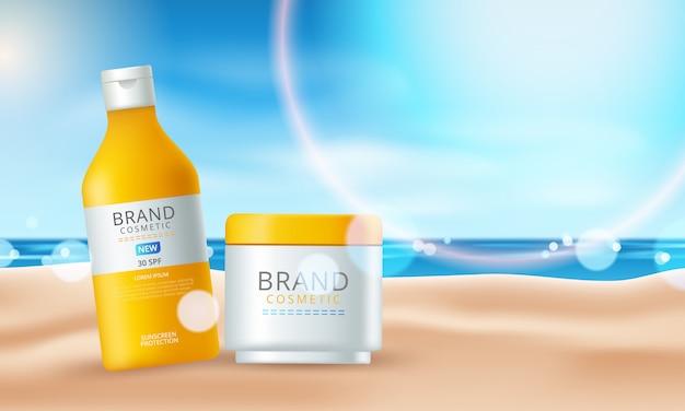 Zonnebrandcrème advertenties op het prachtige strand. illustratie