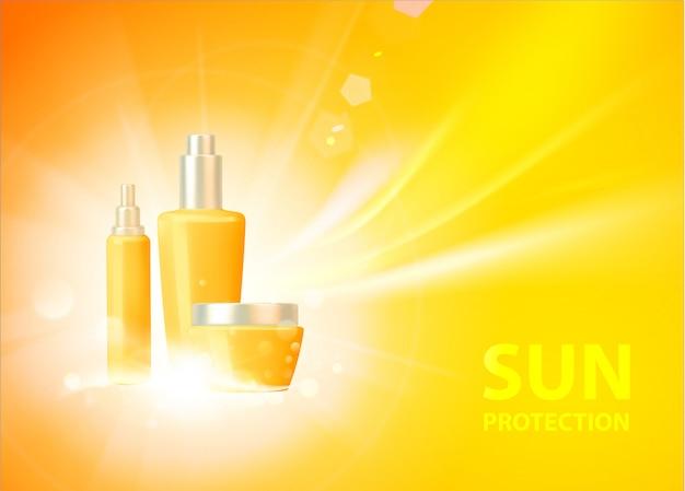 Zonnebrandcrème bescherming tegen de zon achtergrond